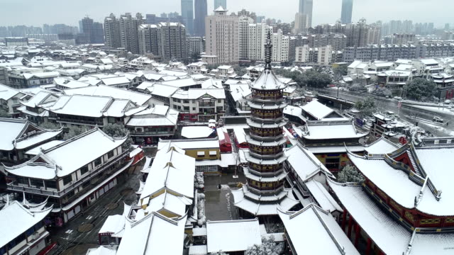 aerial view of covered by snow,the miaoguang pagoda in nanchan  temple scenic spot - lamasery stock videos and b-roll footage