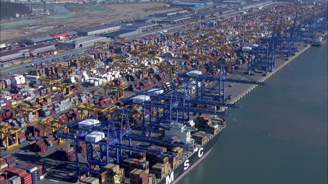 Aerial View of Crane and Cargo Container in Sinhangman (One of the famous harbor in Korea)