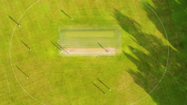 aerial view of cricket ground. - cricket video stock e b–roll