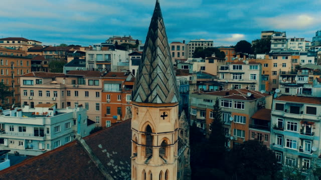 aerial view of crimea memorial anglican church istanbul, turkey - gala stock videos & royalty-free footage