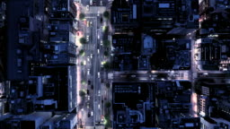 Aerial view of crossroad at night