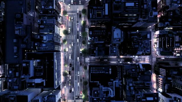 夜の交差点の空撮 - city life点の映像素材/bロール