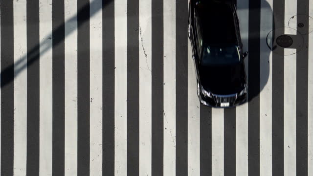 aerial view of crossroad / car - zebra crossing stock videos & royalty-free footage