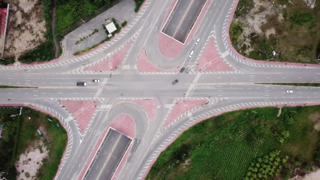 Aerial View of Crossroad with Urban Traffic on Highway , transportation concept