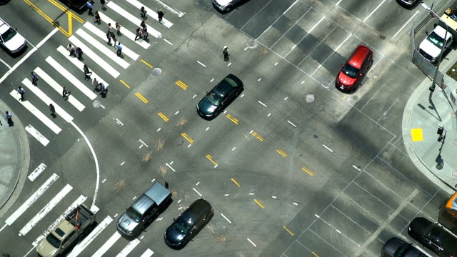 Aerial View of Crosswalk and Traffic