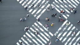 SLOMO - Aerial View of Crowd People pedestrians and Cars Crossing Intersection Road in Ginza, Tokyo, Japan