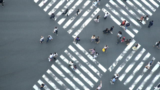 slomo - aerial view of crowd people pedestrians and cars crossing intersection road in ginza, tokyo, japan - road junction stock videos & royalty-free footage