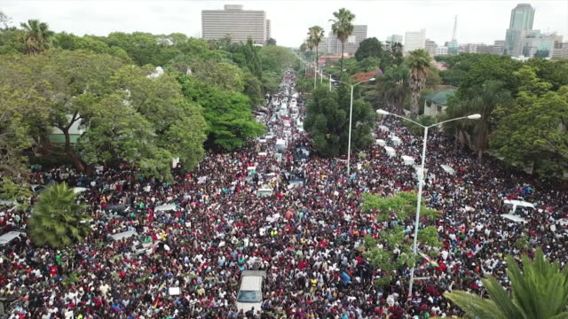 Aerial view of crowds in Harare celebrating after a military coup to remove President Robert Mugabe from power