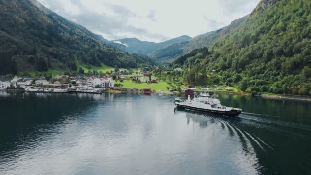 aerial  view of cruise liners on  geirangerfjord in norway - ferry stock videos & royalty-free footage