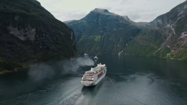 aerial  view of cruise liners on  geirangerfjord in norway - passenger ship stock videos & royalty-free footage
