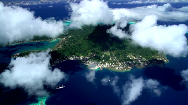 aerial view of cruise ship bora bora island - bora bora aerial stock videos and b-roll footage