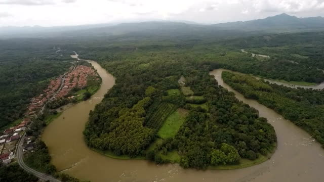 Aerial View of Curving and Twisting River of Sumatra