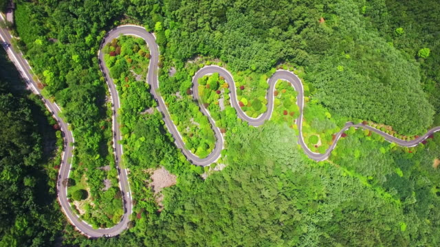 Aerial view of curvy road in Dannyang
