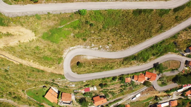 Aerial view of curvy road in Maratea