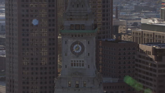 aerial view of custom house tower in boston, massachusetts, united states of america - custom house tower stock videos & royalty-free footage