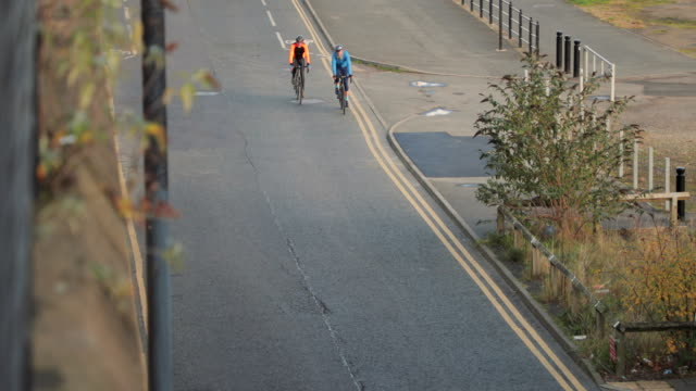 aerial view of cyclists - newcastle upon tyne stock videos and b-roll footage