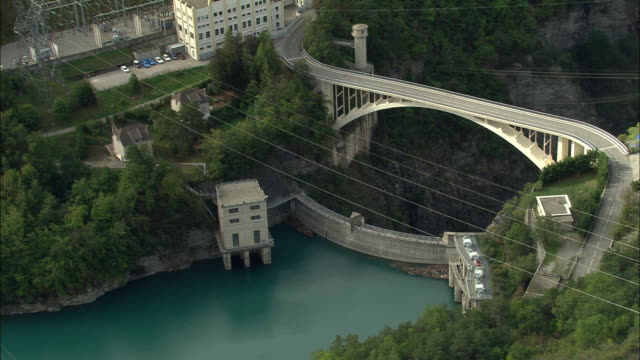 WS Aerial view of Dam and hydro plant on end of Lac du Sautet, Provence, France