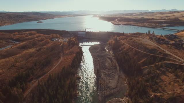 aerial view of dam - diga video stock e b–roll