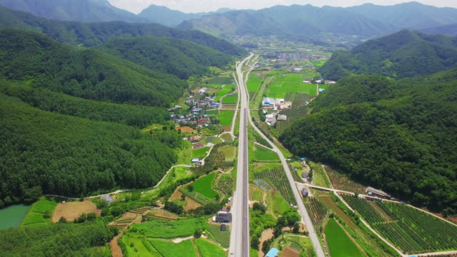aerial view of dannyang rural scene - damyang stock videos & royalty-free footage