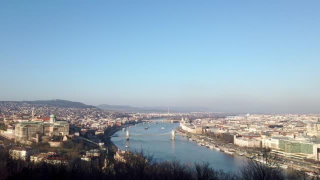 aerial view of danube river in budapest hungary - cultura ungherese video stock e b–roll