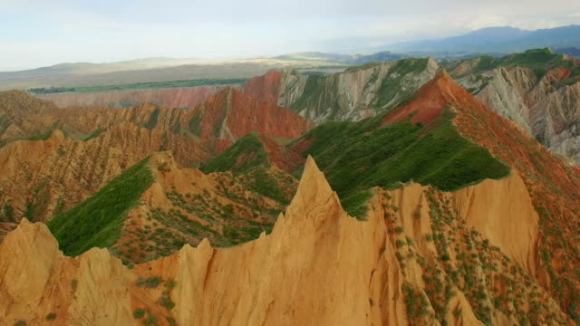 aerial view of danxia landform in tianshan mountain,xinjiang,china. - xinjiang province stock videos & royalty-free footage