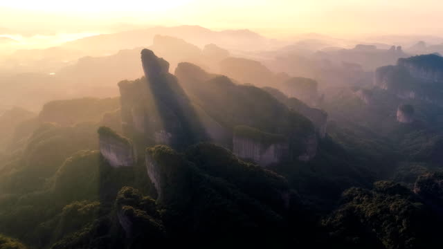 aerial view of danxia mountain - cliff stock videos & royalty-free footage