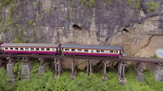 aerial view of death railway and river - remote location stock videos & royalty-free footage