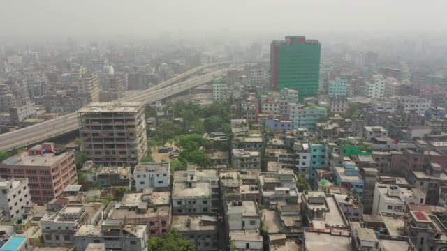 aerial view of density populated capital city in dhaka , bangladesh - dhaka stock videos & royalty-free footage