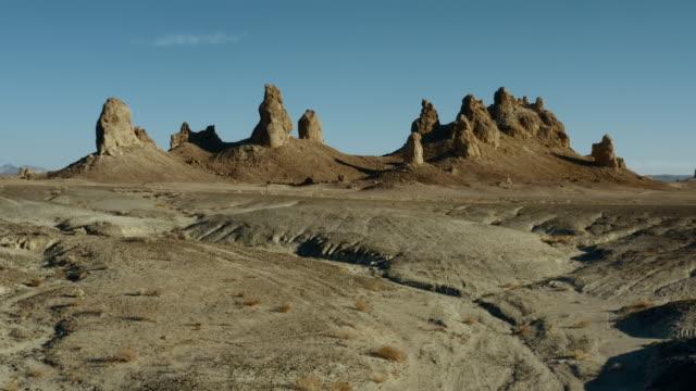 aerial view of desert and trona pinnacles - rock hoodoo stock videos & royalty-free footage