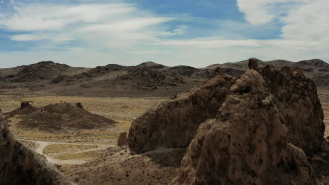 aerial view of desert and trona pinnacles - valley stock videos & royalty-free footage