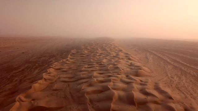 Aerial view of desert at sunrise