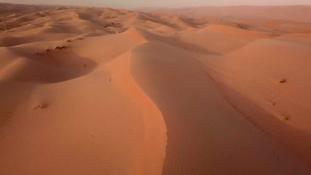 aerial view of desert at sunrise - sand dune stock videos and b-roll footage