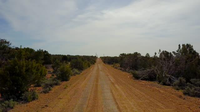 Aerial view of desert dirt road