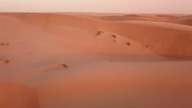 Vue aérienne de dunes désertiques au lever du soleil