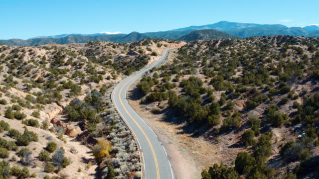 Aerial view of desert highway, Santa Fe, New Mexico, United States,