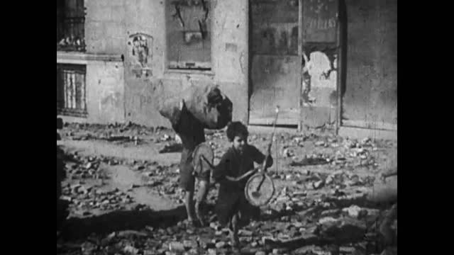 aerial view of destroyed warsaw / women crying at corpses and ruines - warsaw stock videos & royalty-free footage