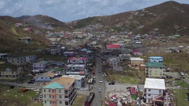 vidéos et rushes de aerial view of destruction caused by hurricane irma on tortola british virgin islands - démoli