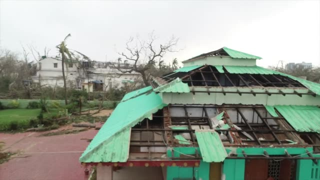 Aerial view of destruction caused to a building in Puri India due to Cyclone Fani