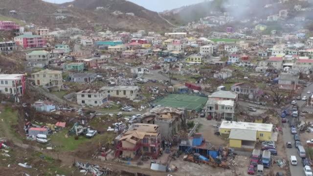 vidéos et rushes de aerial view of devastation and destruction caused by hurricane irma on tortola british virgin islands - démoli