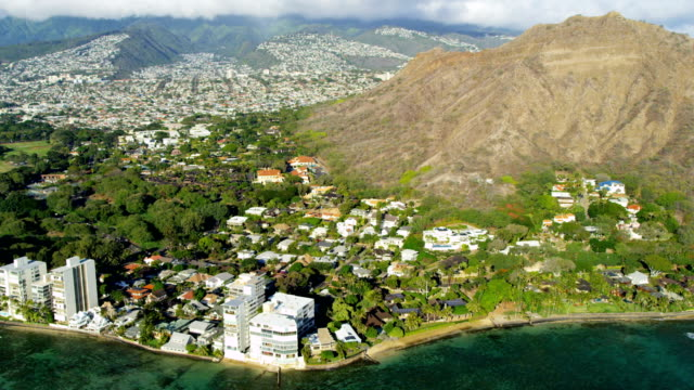 Aerial view of Diamond Head volcano Oahu Hawaii