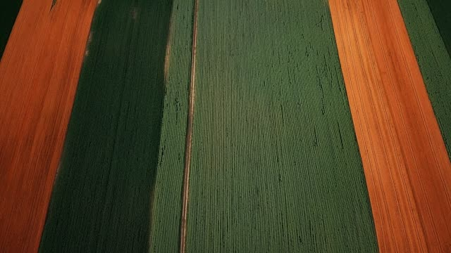 Aerial view of different agricultural crops