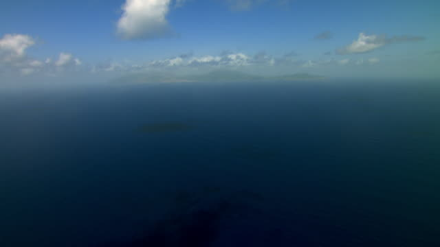 Aerial view of distant Montserrat in the Caribbean Sea.