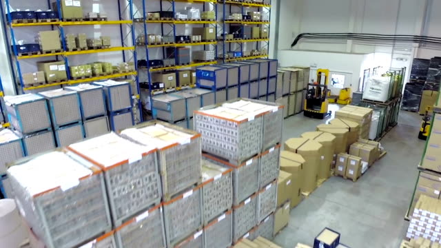 aerial view of distribution storage warehouse - warehouse stock videos and b-roll footage