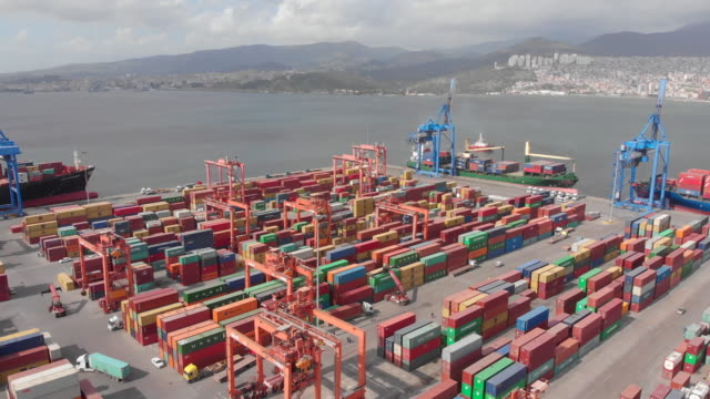 aerial view of dock with containers - economy stock videos & royalty-free footage