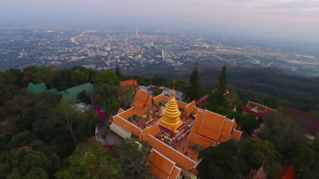 aerial view of doi suthep pui national park and doi suthep temple - チェンマイ県点の映像素材/bロール