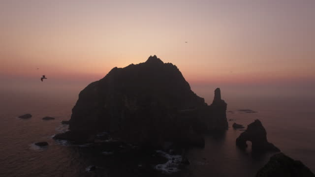 aerial view of dokdo island (natural monument heritage and one of most famous island in korea) and seagulls at sunrise - north gyeongsang province stock videos and b-roll footage