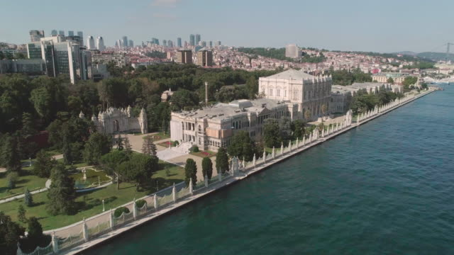 aerial view of dolmabahce mosque. istanbul. turkey. - turkey stock videos and b-roll footage