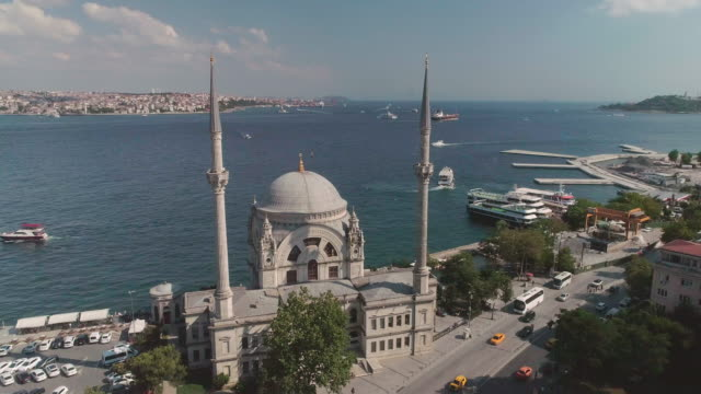 aerial view of dolmabahce mosque. istanbul. turkey. - blue mosque stock videos & royalty-free footage