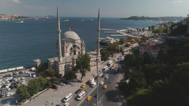 aerial view of dolmabahce mosque. istanbul. turkey. - besiktas stock videos and b-roll footage