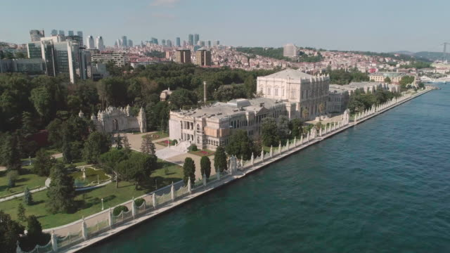 aerial view of dolmabahce palace. istanbul. turkey. - besiktas stock videos and b-roll footage